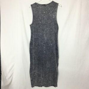 H&M Divided Gray Acid Wash Maxi Tank Dress